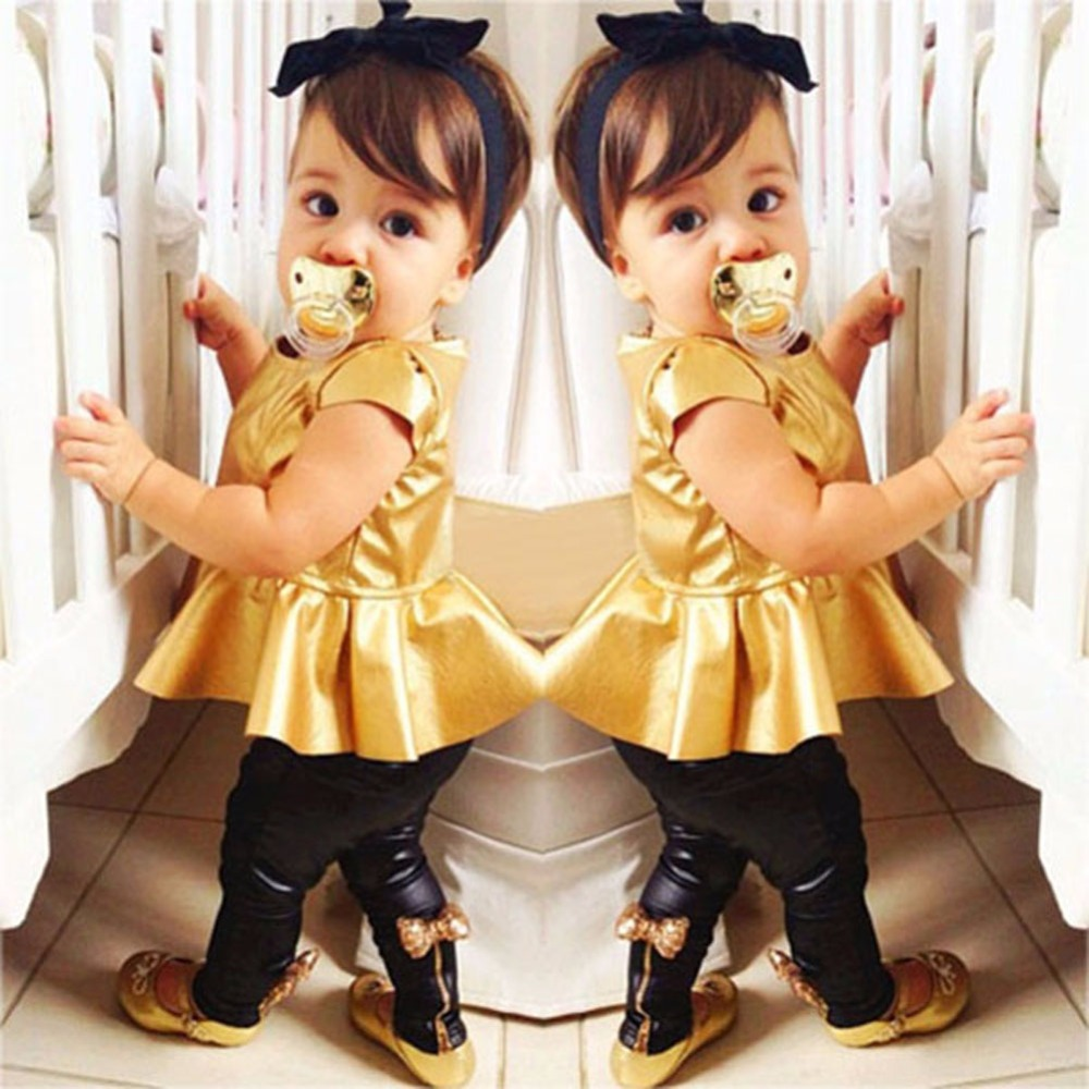 2016 Retail Fashion Baby Girls Kids Shirt Dress + Legging Pants Children Clothes Sets Suit Outfits Golden+Black KR2(China (Mainland))