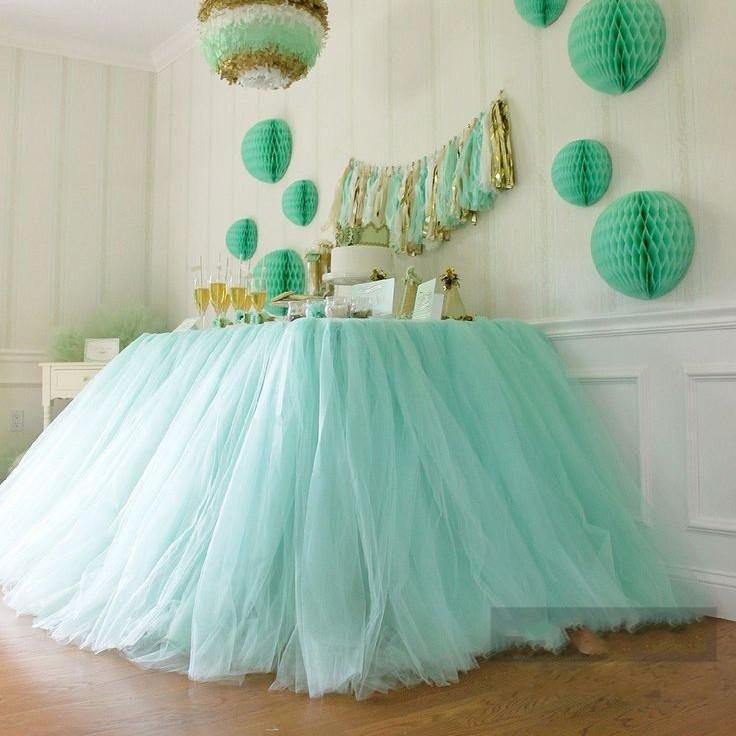 Buy 2015 tulle table runners decorations for Baby shower tulle decoration ideas