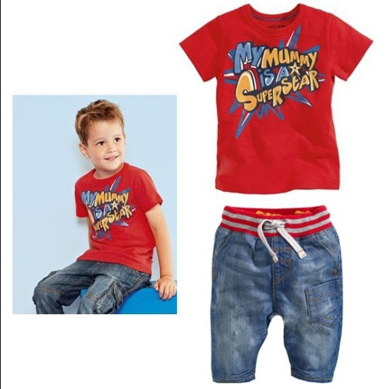 Здесь можно купить  2014 New Summer Short Sleeve Fashion Letters Print Tshirts+Pants Boy Tee Shirt Brand T Shirts Kids Girls Tees  Детские товары