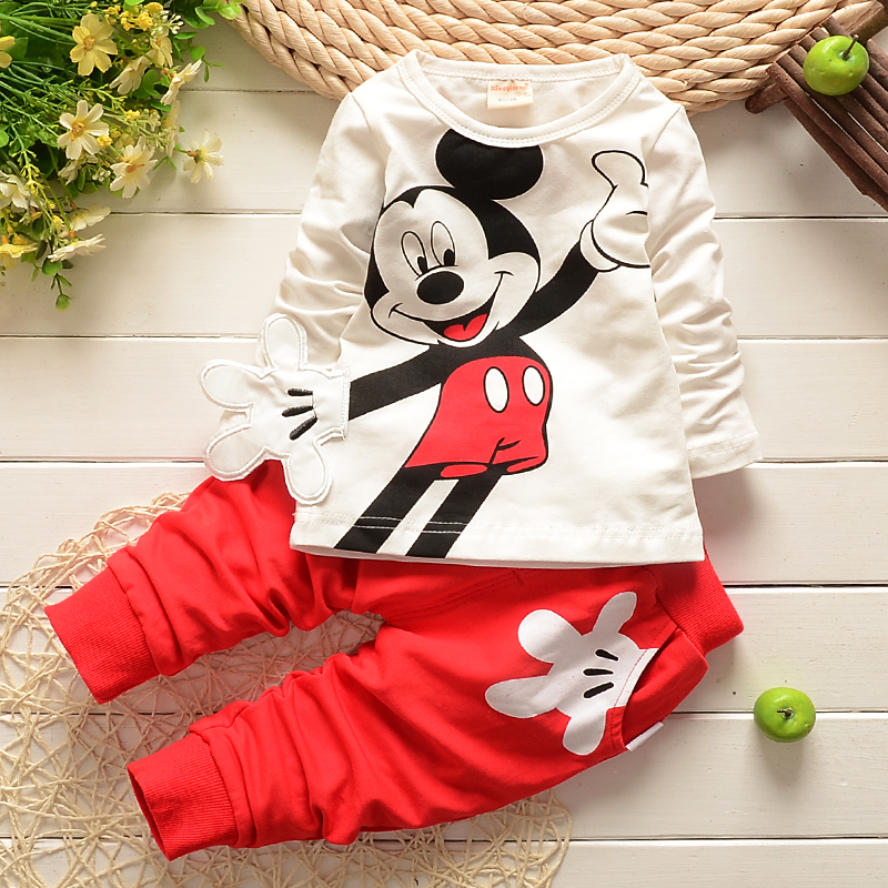 2015 Spring Newborn Suits Baby Girls Boys Brand Mini Fashion Sports Kids T Shirt+Pants Children Clothes - E&H store