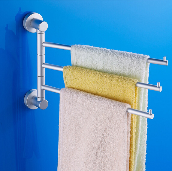 2015 new 3 arms wall mounted space aluminum pallet hook bathroom shelf bathroom accessories - Towel racks for small spaces concept ...