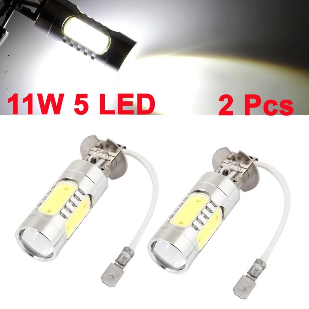 Car H3 White 11W 5 SMD LED Projector Lens Daytine Running Lamp Foglight DC 10V-24V 2 Pcs/lot 60 x 22mm (L*D)(China (Mainland))
