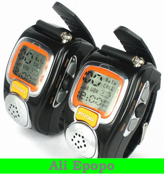 Backlit Pair LCD Two Way Radio Intercom Digital Mobile Walkie Talkie Watch , Dual Band Interphone Transceiver
