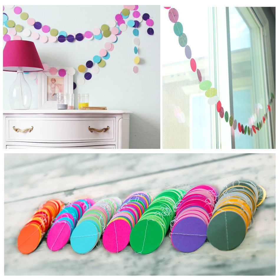 Fun Colorful Hanging Paper Garlands Flora String Wedding Party Baby Kids Decoration Round Shape New(China (Mainland))