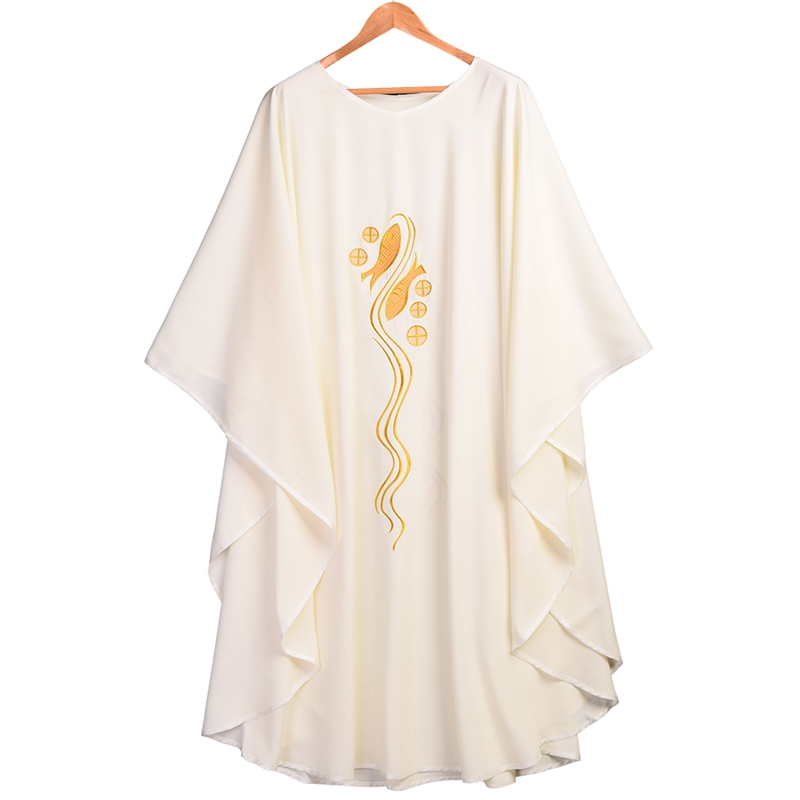 Catholic Church Chasuble Fish Embroidered Vestments White Priest Collar Robe(China (Mainland))
