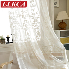 European White Embroidered Voile Curtains Bedroom Sheer Curtains for Living Room Tulle Window Curtains/Panels Window Screening(China (Mainland))