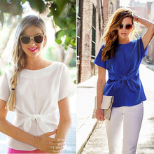 2016 Hot Summer Style Womens Batwing Short Sleeve Slim Blouse Casual Blusas OL Bow Chiffon Shirt Tops Plus Size women blouses(China (Mainland))