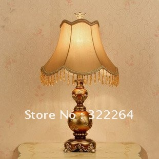 Free shipping traditional Europe fabric shade bedroom table lamp(China (Mainland))