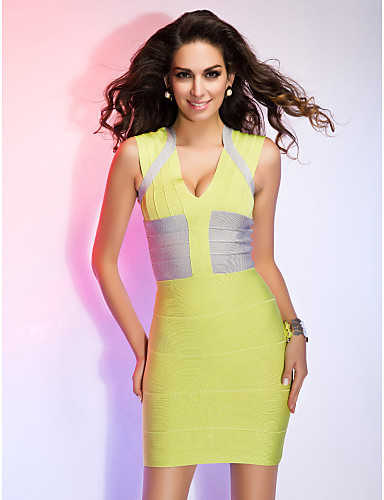Yellow Patchwork Elegant Women's Evening Summer Party Wear Bandage Dresses V Neck Brand Sexy Tight Mini Club Wear HL8801(China (Mainland))