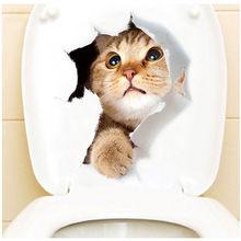 Pegatinas de baño de animales con agujero en 3d para perros y gatos, decoración del hogar, Diy Wc, afiches de PVC para el baño, pegatinas de dibujos animados para pared(China)