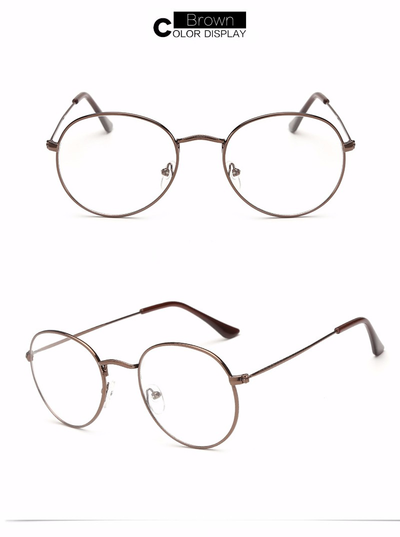Fashion Clear Sunglasses Metal Round Gold Frame Clear