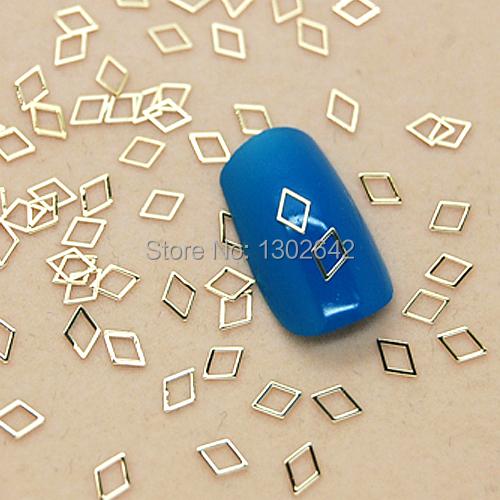 K80 200pcs/lot Metal Rhombus Nail Art Jewelry Nail Decoration Tiny Slice DIY Metal Stud Accessories(China (Mainland))