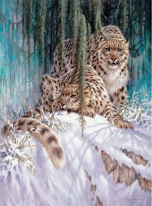 Newest needlework Diy diamond painting kit embroidery Leopard snow mountain with serious mountains free shipping 30*40cm(China (Mainland))