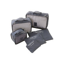 6pcs/set Travel Accessories Fashion Waterproof Polyester Men and Women Travel Packing Organizer Bags(China (Mainland))