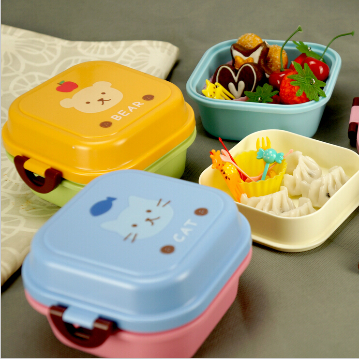 2016 microwave plastic bento lunch box for kids 2 layer lunch box food container lunchi box cute. Black Bedroom Furniture Sets. Home Design Ideas