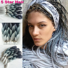 24inch 3 toned grey color jumbo kanekalon ombre synthetic braiding hair bundles 100g/pc high temperature braids hair extensions