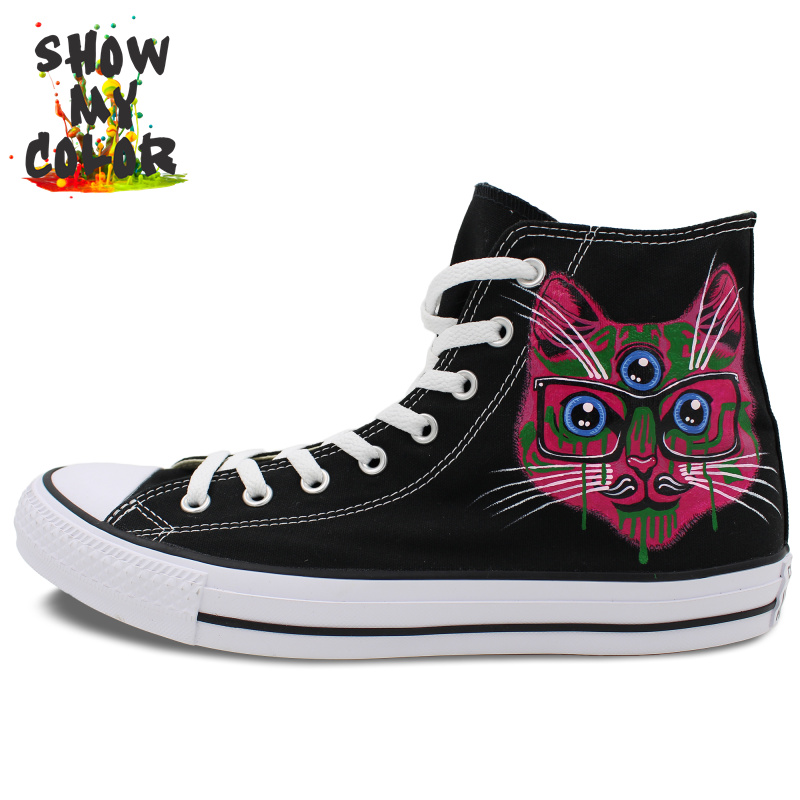 Converse Shoes Black Hand Painted Cat Sneakers High Top Customizable All Star Canvas Shoes Men Women Best Gift(China (Mainland))