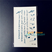 Finger Cute waterproof temporary tattoo stickers YF-165 blue words romantic music Note melody design Body Art tattoo paper paste