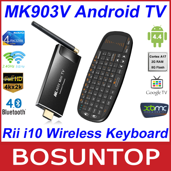 [Rii i10 Wireless Keyboard] MK903V RK3288 Quad Core Cortex A17 Android4.4 Ultra 4K 2G/8G HDMI Bluetooth Android TV Box SticK(China (Mainland))