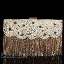 2015 New list Beaded geometric women handbags clutch evening bags with pearl diamond tassels mini purse wallets bolso 20269(China (Mainland))