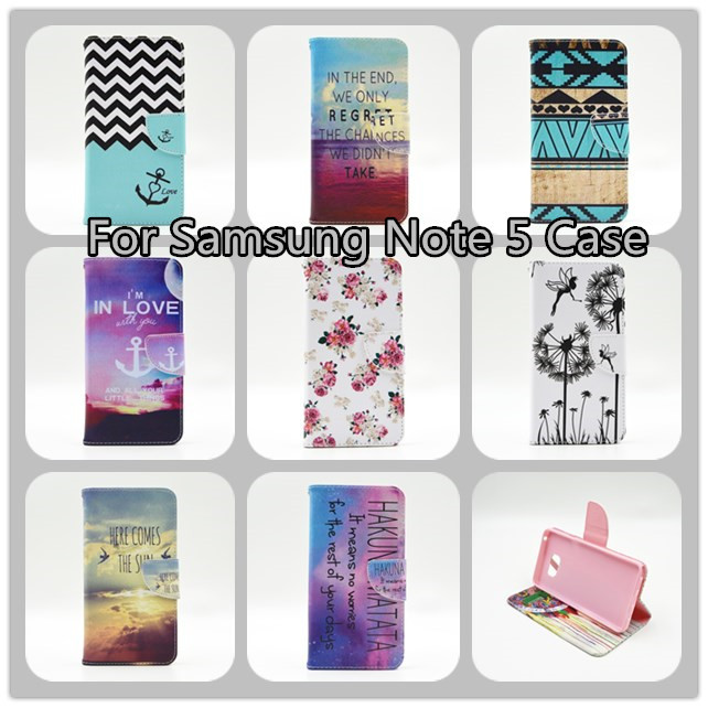 For samsung Note 5 Case,PU Leather Wallet Card Flip Open Pocket Case Cover for Samsung Note 5 Case with Stand(China (Mainland))