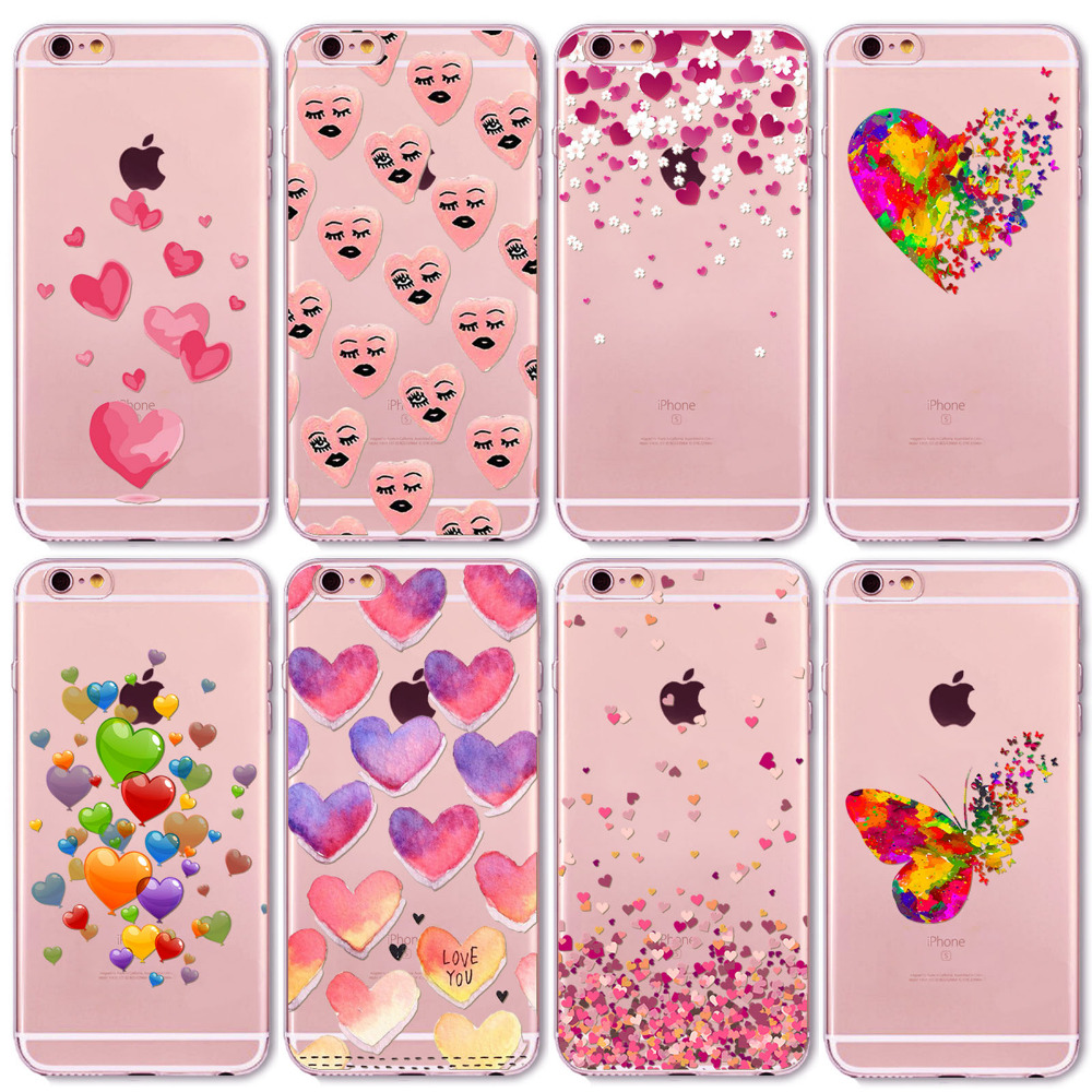 Watercolor Butterfly Pink Love Heart Travel Girl Case For iphone 6 6s 7 5 5s se 7Plus 6Plus 4 4S Transparent Silicon Cases Cover(China (Mainland))