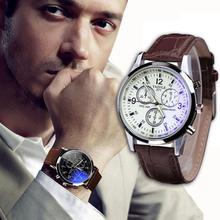 Fantastic 2015 Luxury Men Wristwatch Faux Leather Band Blue Ray Glass Dial Quartz Analog Watches Cool Watch men Sinobi Free ship