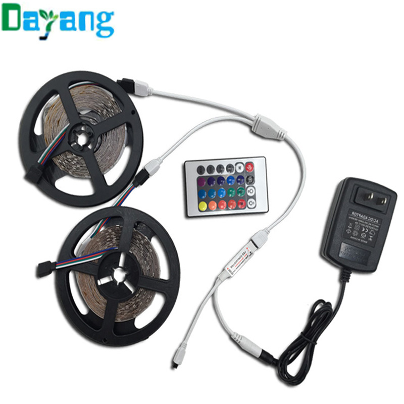 Non waterproof 3528 10M RGB LED Strip set include 24keys RGB Remote Control and DC 12V Power Adapter Flexible led light string(China (Mainland))