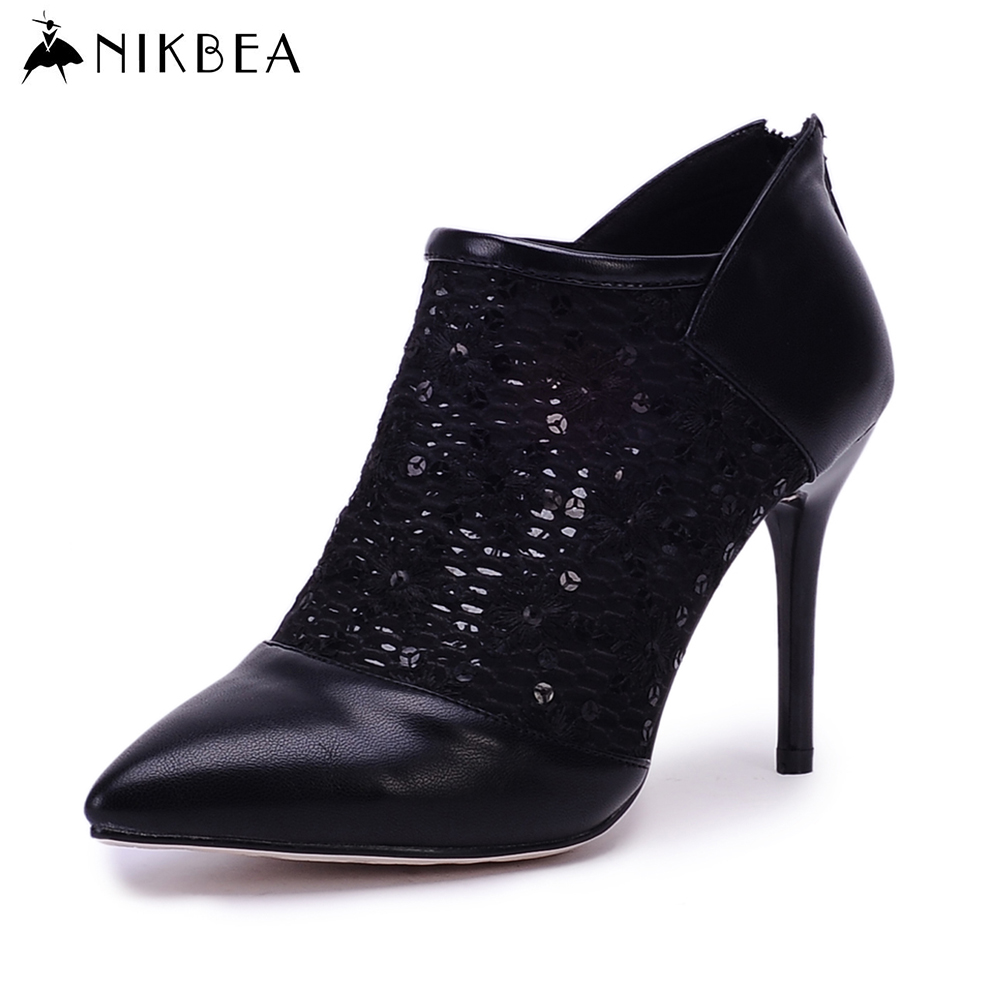 Nikbea 2016 Summer Sexy Cut Out Ankle Boots for Women High Heels Botines Mujer Sequin Shoes Woman Pointed Toe Botas Feminina(China (Mainland))