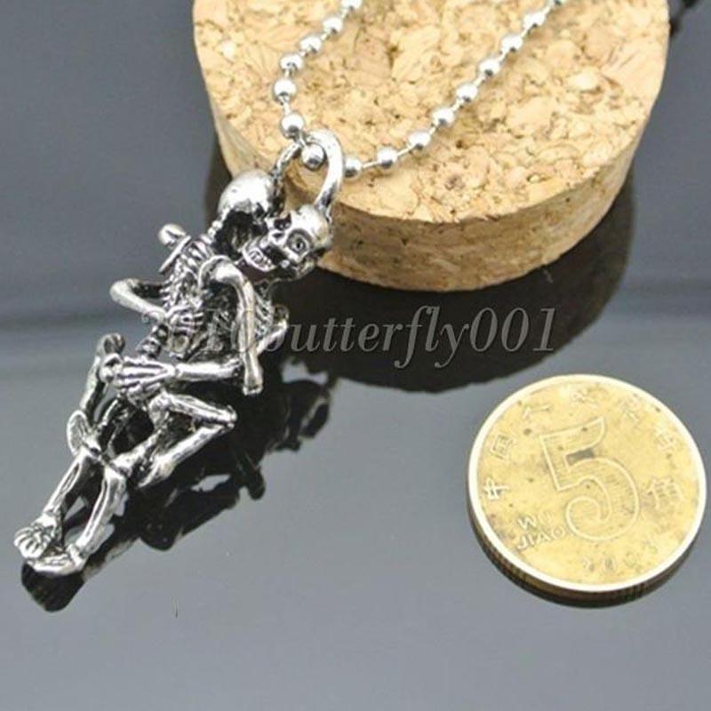 Creative Men Antique Silver Titanium Steel Skull Charms Pendant Chain Necklace(China (Mainland))