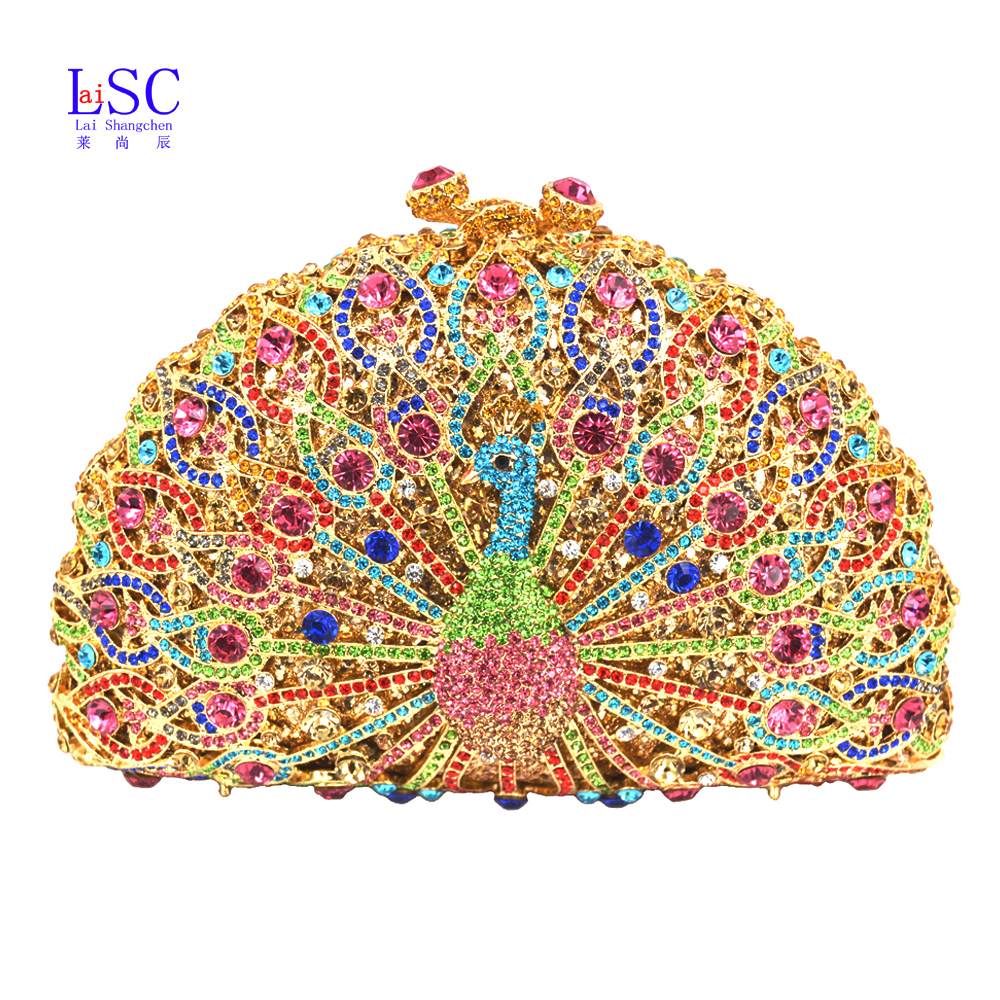 LaiSC Luxury Crystal Evening Bag Peacock Clutch diamond party purse pochette soiree Women evening handbag wedding clutch bag 049(China (Mainland))