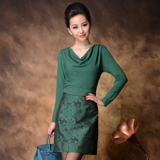 2012 autumn and winter skirt heap turtleneck beading patchwork fashion plus size one-piece dress women's long-sleeve