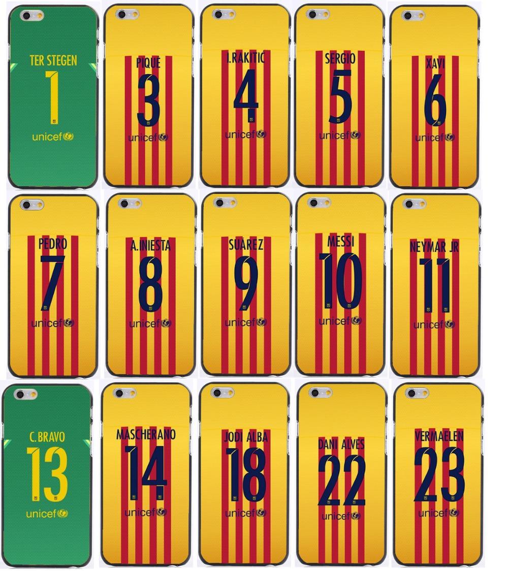 Wholesale 5 pcs/lot yellow Soccer Jersey messi Neyma suarez 9 10 11 plastic or tpu case For iphone 7 plus+free shipping(China (Mainland))