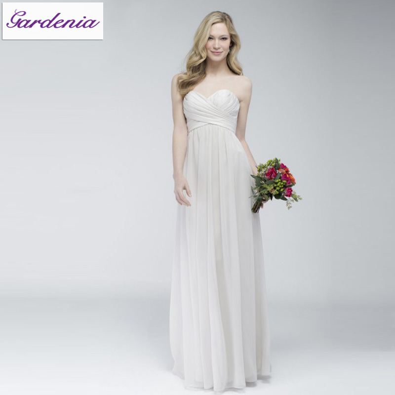 2014New Arrival Cheap Junior White Color Sweetheart Sexy Bare Back Pleated Long Chiffon Bridesmaids Dress Gown for Girl(BSD-007)(China (Mainland))