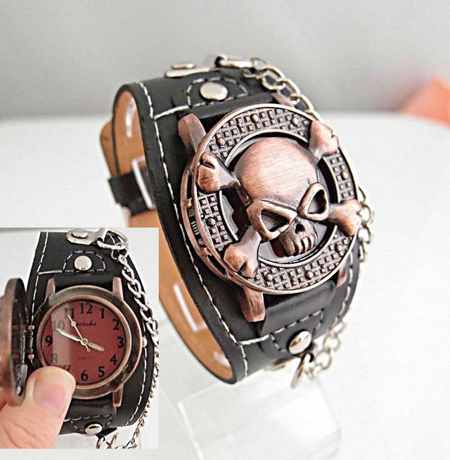 Christmas sale Wholesale Cool Copper Skull with Cover Design black Leather Watch Men man Wrist Watch KOW004-1<br><br>Aliexpress