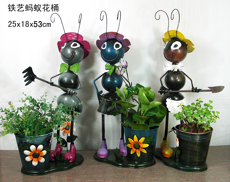 Wholesale metal ants flower pots iron craft ants garden for Art and craft pot decoration