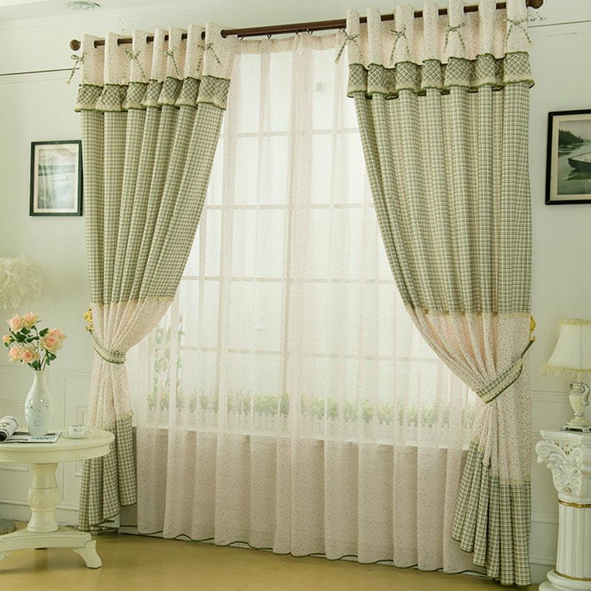 F es fen tre rideaux rideau de style rustique petit plaid salon rideau dans rideaux de maison - Rideau pour petite fenetre salon ...