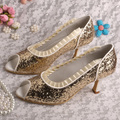 Wedopus MW219A Prom Shoes Mid Heel Court Shoes Gold Glitter