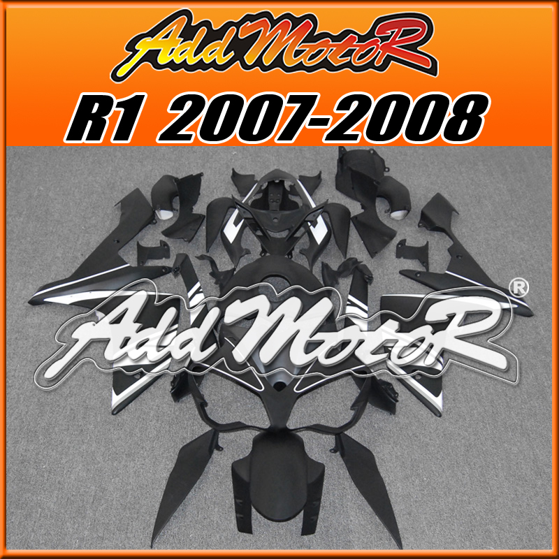 Addmotor Aftermarket Injection Mold Fairing Fit Yamaha YZF R1 07 08 YZFR1 2007 2008 YZF-R1 Body Kit White Black Y1709(China (Mainland))