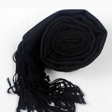 LING Real 100% Wool Women Shawls,180*70CM Long Size Lambswoo Pashmina,Echarpe,Warm Black Scarfs For Autumn Winter W3908(China (Mainland))