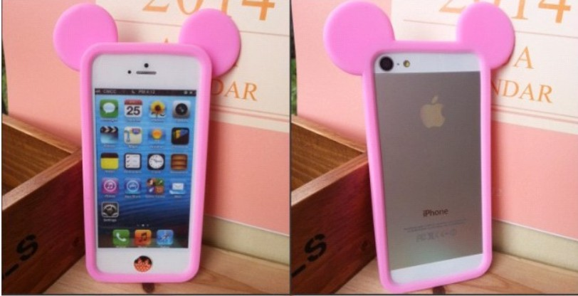 New 3D Cute Cartoon Mickey minnie ear soft silicon frame bumper phone case Iphone 5 5G 5S 4 4G 4S - long yang way store