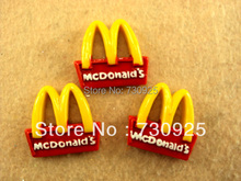 5Y7043 free shipping resin material flatback mcdonald brand LOGO 25*26mm minimum order USD 6.00(China (Mainland))