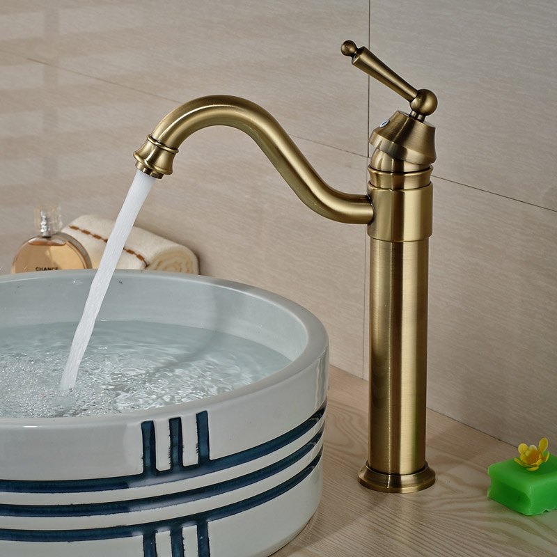 Фотография Single Hole Antique Bronze Bathroom Basin Faucet Polished Brass Faucet Hot Cold Water Mixer Tap