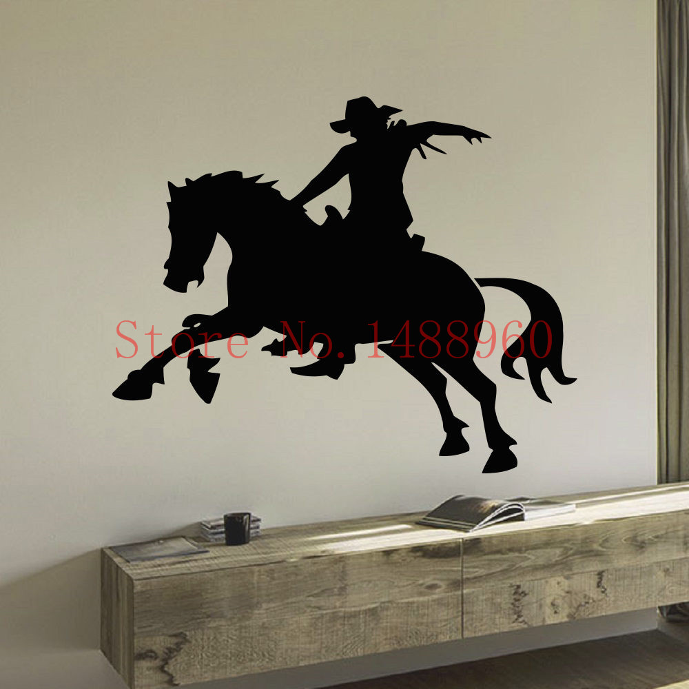 E648 personalized Wall Stickers Home decor DIY poster mural Vinyl Decal Boy Room Art Murals ANIMAL PEOPLE COWBOY RIDING HORSE(China (Mainland))