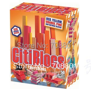 50 Pcs Hot Colors Citiblocks Assemble Wooden Magical Blocks Toy Freeshipping Wholesale&Retail(China (Mainland))