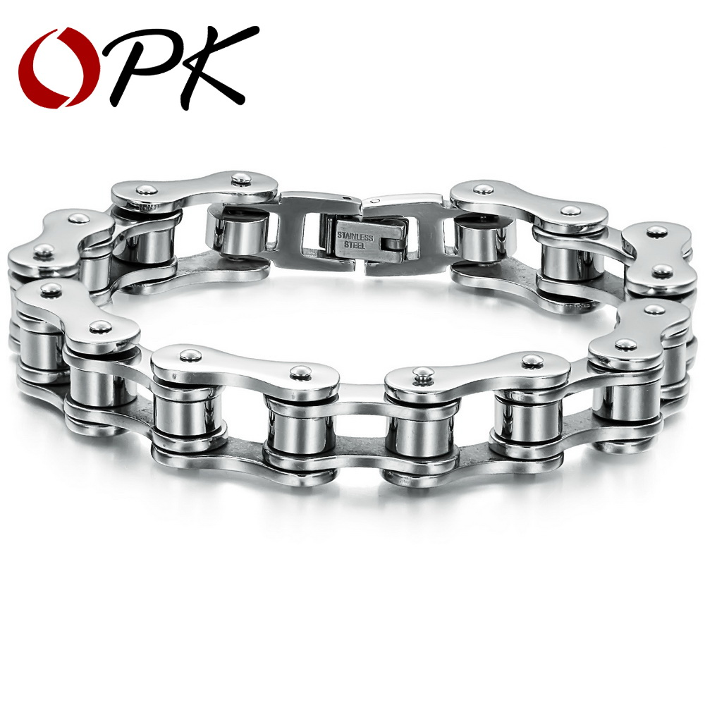 OPK Punk Cool Biker Chain Bracelet For Men Stainless Steel Heavy Metal Texture Stylish Male Accessory, DM3136(China (Mainland))