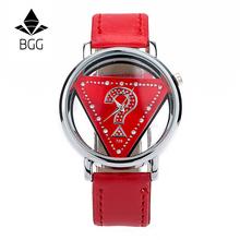 Women Hollow Dial Luxury Quartz-Watch BGG brand ladies Casual Wristwatch Leather Strap dress Watch female clock hour Relojes