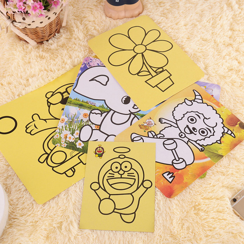 10pcs/lot 16.2*11.7cm Children Sand Painting Pictures Kids DIY Crafts Educational Toy Pattern Random Drawing Toys(China (Mainland))