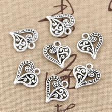 30pcs Charms hollow lovely heart 15*14mm handmade Craft pendant making fit,Vintage Tibetan Silver,DIY for bracelet necklace(China (Mainland))