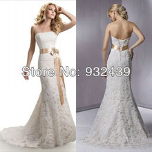 New wedding dress Lace a-line Strapless beaded Champagne Belt Brooch Silk Sash bridal gowns(China (Mainland))